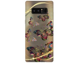Husa Silicon Soft Upzz Print Samsung Galaxy Note 8 Model Golden Butterfly