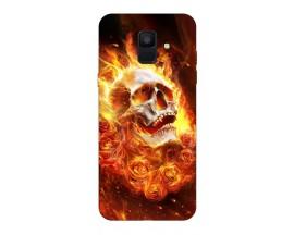 Husa Silicon Soft Upzz Print Samsung A6 2018 Model Flame Skull