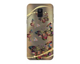 Husa Silicon Soft Upzz Print Samsung A6 2018 Model Golden Butterfly