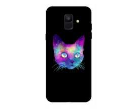 Husa Silicon Soft Upzz Print Samsung A6 2018 Model Neon Cat