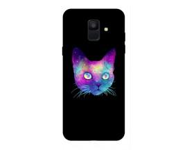 Husa Silicon Soft Upzz Print Samsung A6 2018 Model Neon Cat