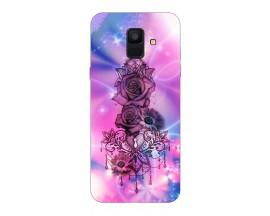 Husa Silicon Soft Upzz Print Samsung A6 2018 Model Neon Rose