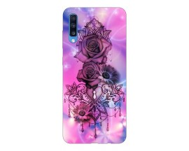 Husa Silicon Soft Upzz Print Samsung A70 Model Neon Rose
