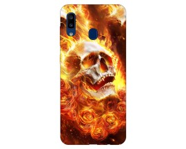 Husa Silicon Soft Upzz Print Samsung Galaxy A20 Model Flame Skull
