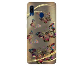 Husa Silicon Soft Upzz Print Samsung Galaxy A20 Model Golden Butterfly