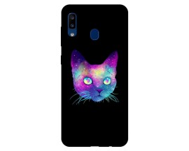 Husa Silicon Soft Upzz Print Samsung Galaxy A20 Model Neon Cat