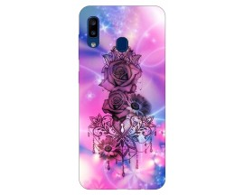 Husa Silicon Soft Upzz Print Samsung Galaxy A20 Model Neon Rose