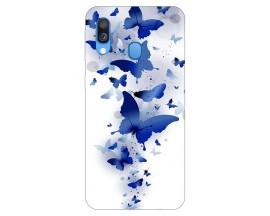 Husa Silicon Soft Upzz Print Samsung Galaxy A40 Model Blue Butterflies