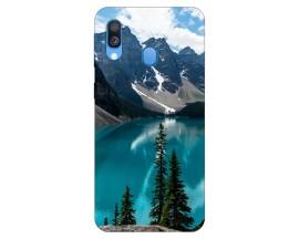 Husa Silicon Soft Upzz Print Samsung Galaxy A40 Model Blue