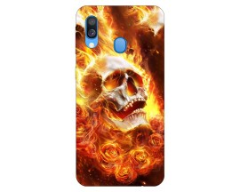 Husa Silicon Soft Upzz Print Samsung Galaxy A40 Model Flame Skull