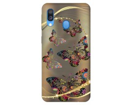Husa Silicon Soft Upzz Print Samsung Galaxy A40 Model Golden Butterfly