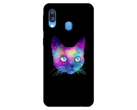 Husa Silicon Soft Upzz Print Samsung Galaxy A40 Model Neon Cat
