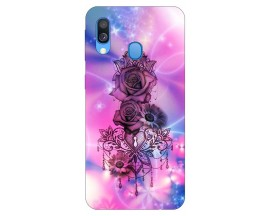 Husa Silicon Soft Upzz Print Samsung Galaxy A40 Model Neon Rose