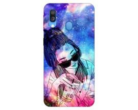 Husa Silicon Soft Upzz Print Samsung Galaxy A40 Model Universe Girl