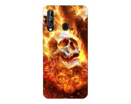 Husa Silicon Soft Upzz Print Samsung Galaxy A60 Model Flame Skull