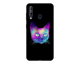 Husa Silicon Soft Upzz Print Samsung Galaxy A60 Model Neon Cat