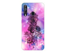 Husa Silicon Soft Upzz Print Samsung Galaxy A60 Model Neon Rose