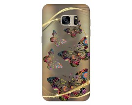 Husa Silicon Soft Upzz Print Samsung S7 Model Golden Butterfly