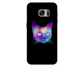 Husa Silicon Soft Upzz Print Samsung S7 Model Neon Cat