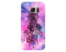 Husa Silicon Soft Upzz Print Samsung S7 Model Neon Rose