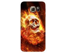 Husa Silicon Soft Upzz Print Samsung S6 Model Flame Skull