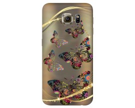 Husa Silicon Soft Upzz Print Samsung S6 Model Golden Butterfly