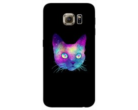 Husa Silicon Soft Upzz Print Samsung S6 Model Neon Cat