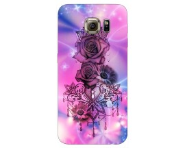 Husa Silicon Soft Upzz Print Samsung S6 Model Neon Rose