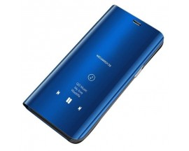 Husa Tip Carte Mirror Samsung Galaxy S10 Albastru, Suport Incarcare Priza Cadou