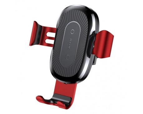 Incarcator Auto Baseus Quick Charge Gravity, Wireless Qi Pentru iPhone 8, iPhone X/xs/xs Max/xr, Samsung S8/s9/s10/s10+ , Rosu