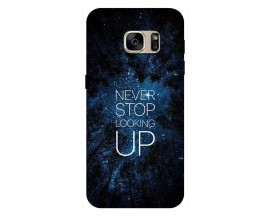 Husa Silicon Soft Upzz Print Samsung S7 Edge Model Never Stop