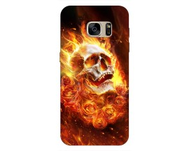 Husa Silicon Soft Upzz Print Samsung S7 Edge Model Flame Skull