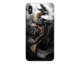 Husa Silicon Soft Upzz Print iPhone Xs Model Dragon 1