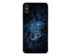 Husa Silicon Soft Upzz Print iPhone Xs Model Never Stop