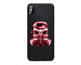Husa Premium Upzz Print iPhone X / XS Carbon ,silicon ,negru -Gang