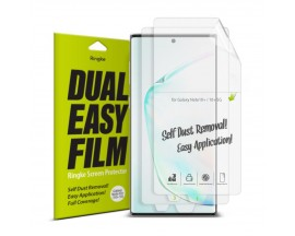 Folie Silicon Premium Full Cover Dual Easy Film Ringke Samsung Galaxy Note 10+ Plus Transparenta-2 bucati in pachet