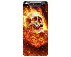 Husa Premium Upzz Print Samsung Galaxy A80 Model Flame Skull