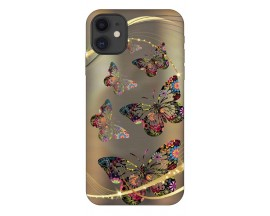 Husa Premium Upzz Print iPhone 11 Model Golden Butterfly