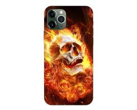 Husa Premium Upzz Print iPhone 11 Pro Model Flame Skull