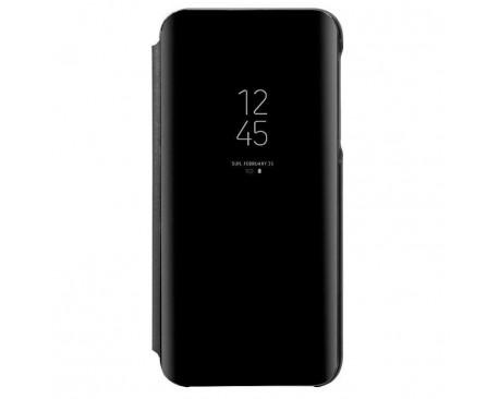 Husa Tip Carte Mirror Huawei P30 Lite  Cu Folie Sticla Upzz Glass Inclusa In Pachet, Negru