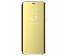 Husa Tip Carte Mirror Huawei P30 Lite Cu Folie Sticla Upzz Glass Inclusa In Pachet, Gold