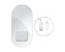 Incarcator Premium De Birou Wireless Bseus Simple 2 in 1 Pentru Telefon si AirPods 18W Alb