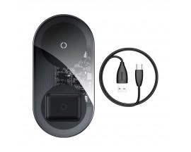 Incarcator Premium De Birou Wireless Bseus Simple 2 in 1 Pentru Telefon si AirPods 18W Negru Transparent
