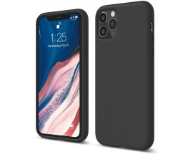 Husa Silicon Apple Style Fara Logo iPhone 11 Pro Max Interior Alcantara Negru
