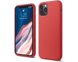 Husa Silicon Apple Style Fara Logo iPhone 11 Pro Max Interior Alcantara Rosu