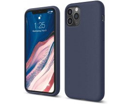 Husa Silicon Apple Style Fara Logo iPhone 11 Pro Max Interior Alcantara Navy