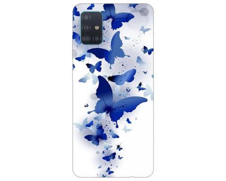 Husa Silicon Soft Upzz Print Samsung Galaxy A71 Model Blue Butterflys