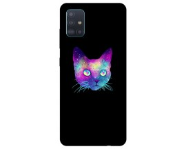 Husa Silicon Soft Upzz Print Samsung Galaxy A51 Model Neon Cat