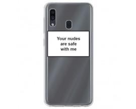 Husa Spate Silicon Upzz Label Samsung Galaxy A40 Model Nudes
