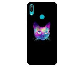 Husa Silicon Soft Upzz Print Huawei Y7 2019 Model Neon Cat